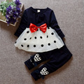 2017 girls spring Bow t-shirt + panst suit children Tops + trousers  two piece sets for Kids clothing 1-2-3-4 Year