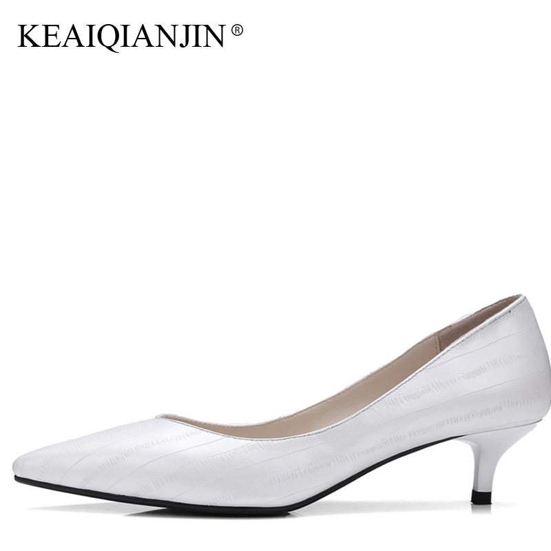 KEAIQIANJIN Woman Genuine Leather High Shoes Plus Size 33 - 41 Pointed Toe Pumps Spring Autumn Black Apricot White Wedding Pumps new 2017 spring summer women shoes pointed toe high quality brand fashion womens flats ladies plus size 41 sweet flock t179