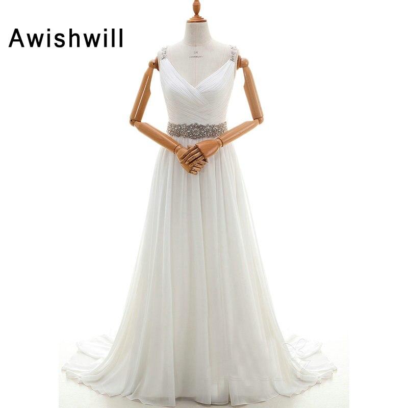 New Arrival 2019 Wedding Dresses for Bride Court Train V-neck Crystal Beads Chiffon Open Back Elegant Wedding Gowns Bridal Dress