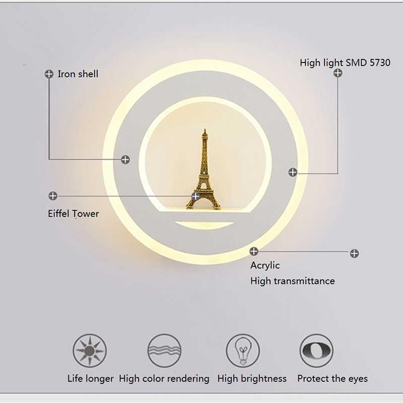 19 Вт настенные лампы внутреннего освещения с Эйфелевой башни AC85V ~ 265 V сегмент светодио дный настенный светильник для Спальня Гостиная Обеденная