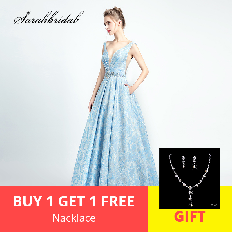 2019 Robe De Soiree Sexy New Arrivals Sky Blue Luxury Evening Dresses Actual Image Open Back