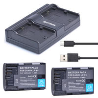 2Pcs 2650mAh LP E6 LP E6 Camera Battery USB Dual Charger For Canon EOS 5D 5D2