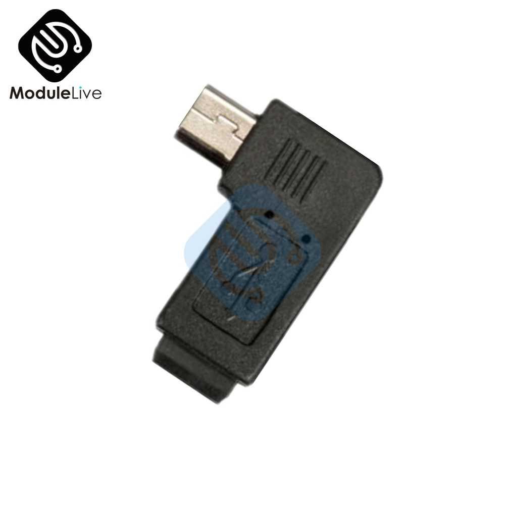 1Pc czarny lekki Mini 5 Pin mikro usb męski 5 Pin kobieta 90 stopni Adapter wtyczka konwersji i grać