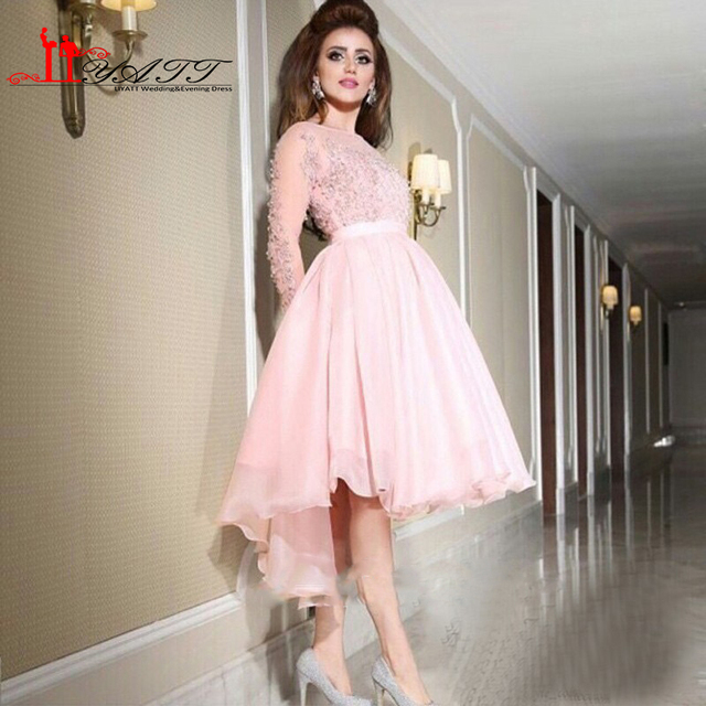 aadde727729 Sheer Long Sleeve Light Pink Prom Dresses 2016 Applique Beaded Short Puffy  Evening Party Gown Arabic Designer Occasion Gown