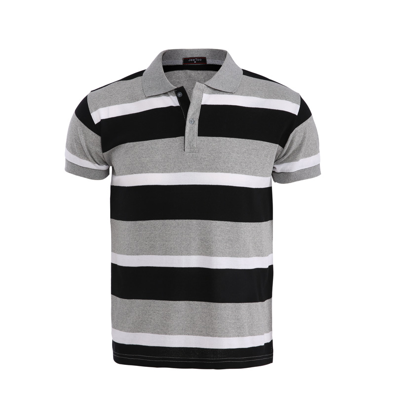 Jeetoo Brand New Polo Shirts Men 2018 Summer Gray Black Striped Short Sleeve Shirt Slim Fit Casual Breathable Cotton Polo Tops