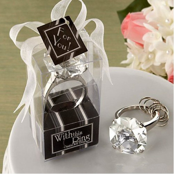 Hot Sale New Couple Lovely Crystal Ring Love You Forever Keychain