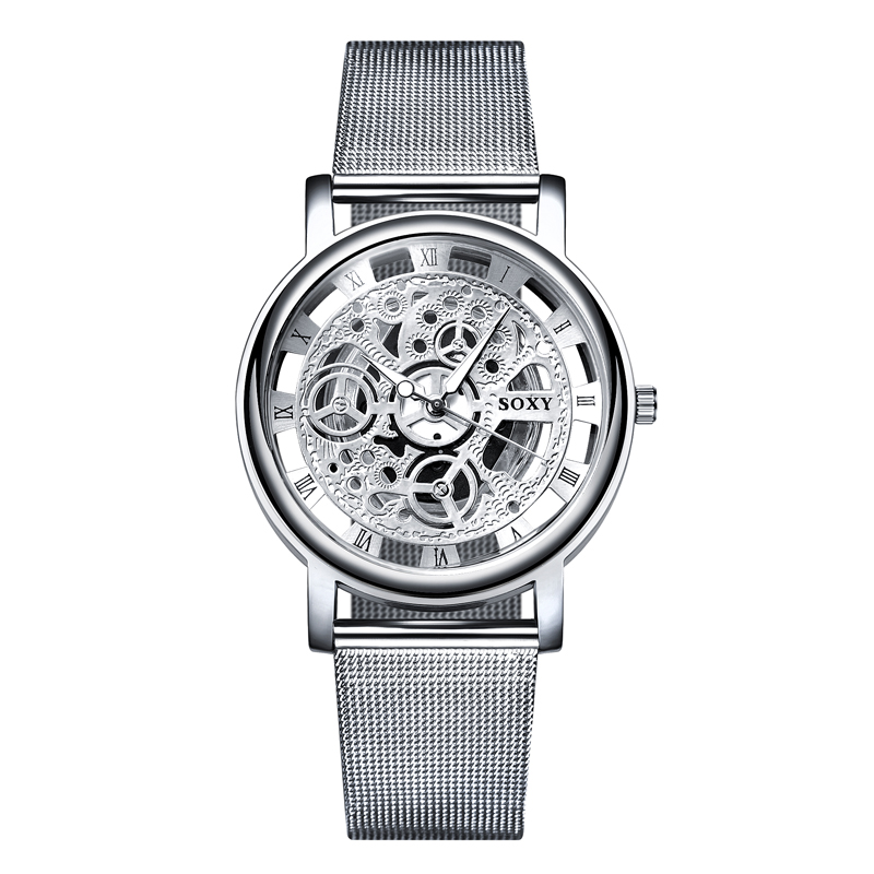 SOXY Watch 2019 Skeleton Wrist Watch Men Simple Style Mesh Belt Men Women Unisex Quartz Watches Hollow Watches Relogio Masculino