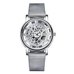 SOXY часы 2018 Скелет наручные часы для мужчин простой стиль пояс сетки для мужчин для женщин унисекс повседневные часы полые часы relogio masculino