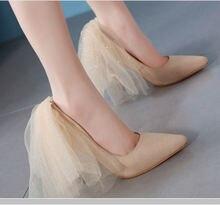 Туфли лодочки женские из флока сетчатые заостренный носок без