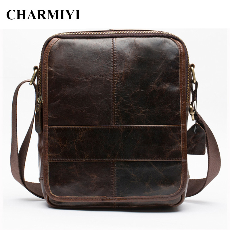 CHARMIYI Men Genuine Leather Messenger Bag Male Real Leather Vintage Crossbody bags Zipper Men Shoulder bag High Quality Handbag penny dale ten out of bed
