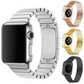 Correa de acero inoxidable para apple watch correa 38mm hombres negro metal de lujo pulsera del acoplamiento 42mm para iwatch