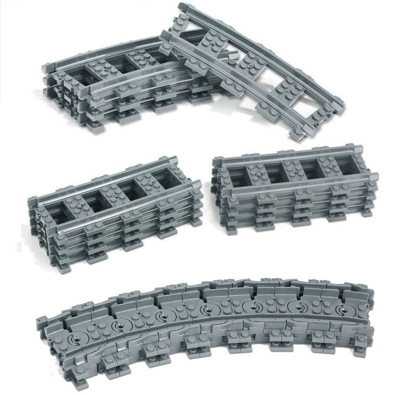 20Pcs/Lot City Train Track Rail Straight Rails Curved Rails Figure Blocks Construction Toys For Children Compatible Legoe