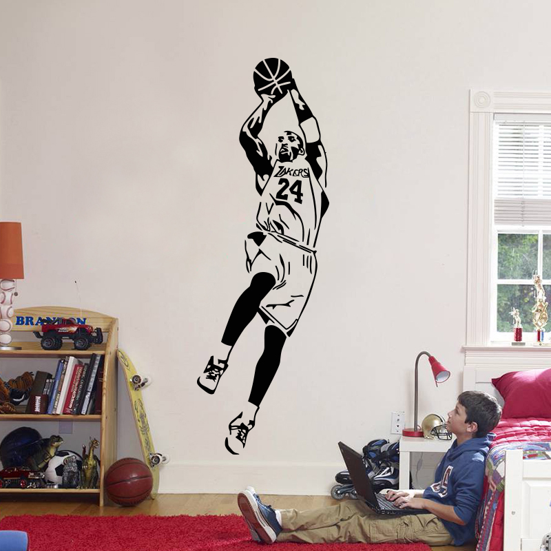 Kobe Bryant Wall Sticker Vinyl DIY home decor Basketball Players Wall Decals Sport Star for kids Living room