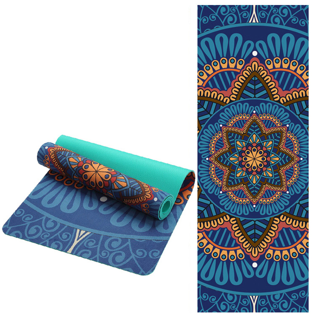 5 MM Lotus Pattern Suede TPE Yoga Mat Pad Non-slip Slimming Exercise Fitness Gymnastics Mat Body Building Esterilla Pilates