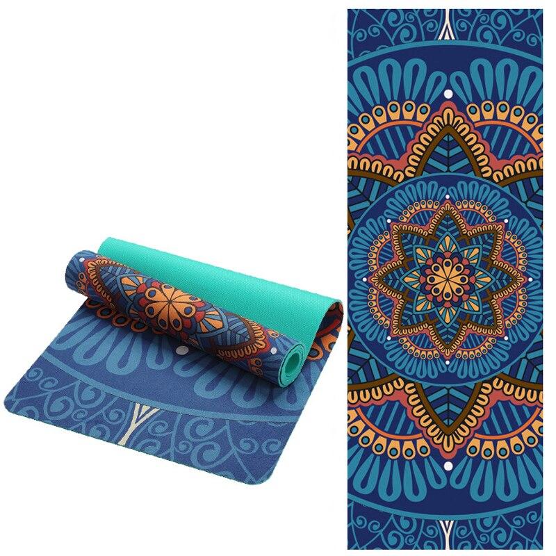 6 MM Lotus motif daim TPE tapis de Yoga Pad anti-dérapant minceur exercice Fitness tapis de gymnastique musculation Esterilla Pilates
