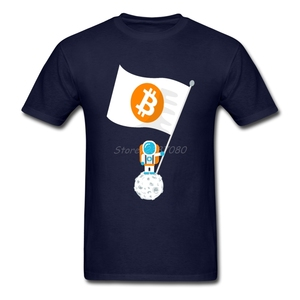 Popular Bitcoin To The Moon T Shirt Plain Clothes O-neck Cotton Plus Size Short Sleeve Tees Shirts Homme(China)