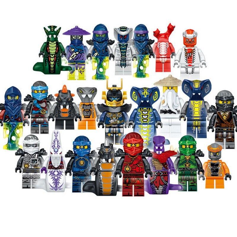 24 pçs 31035 super heróis lloyd ash mestre verme sensei wu o wei cobra tijolos brinquedos para crianças compatíveis legoe