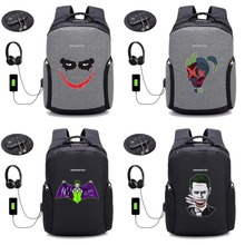 цена на Suicide Squad Harley Quinn backpack USB anti-theft travel laptop bag computer shoulder bag students book package 12 style