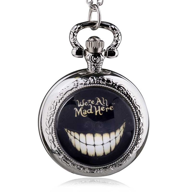 Alice in Wonderland We're All Mad Here Pocket Watch Necklace gREdWx