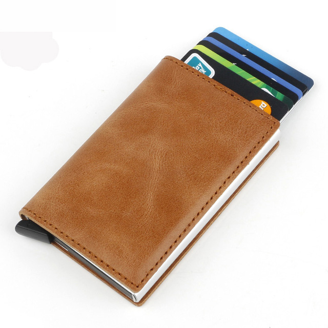 Fashion Mini Crazy Horse Genuine Leather Card Wallet RFID Aluminium ID Business Card Holder Small Automatic Pop Up Case