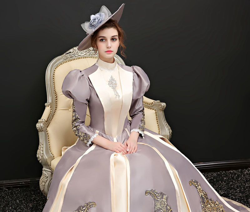 Picture Les Motif As Marie Princesse Bouffantes Bal 2018 Pour Long Longue Cour Collier Robes De Stand Or Robe Femmes Appliques Automne Antoinette Manches qwBO1H