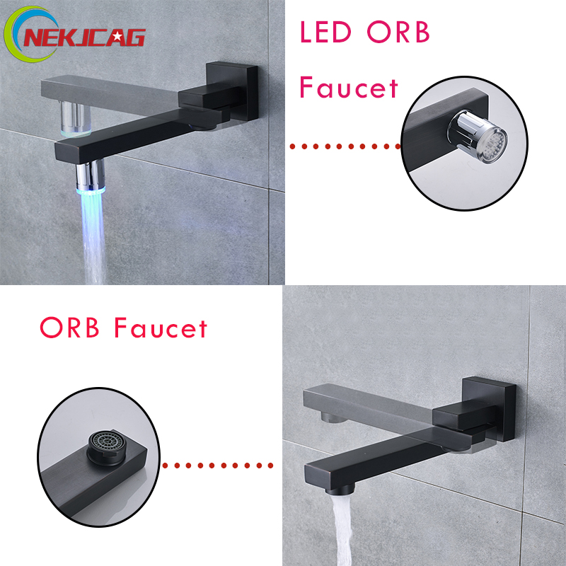 Bathroom Wall Mounted LED Faucet Hot and Cold Water Faucet Mixer Tap ORB Finish Faucet square wall mounted water tap bathroom faucet mixer