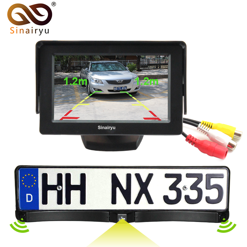 Sinairyu 4.3 Car Video Parking Monitor + HD CCD European Russia License Plate Frame Auto Rear View Camera With 2 Parking Sensor 1 european license plate frame 1 car rear view camera 2 parking sensor automobiles number plate frame for license plate