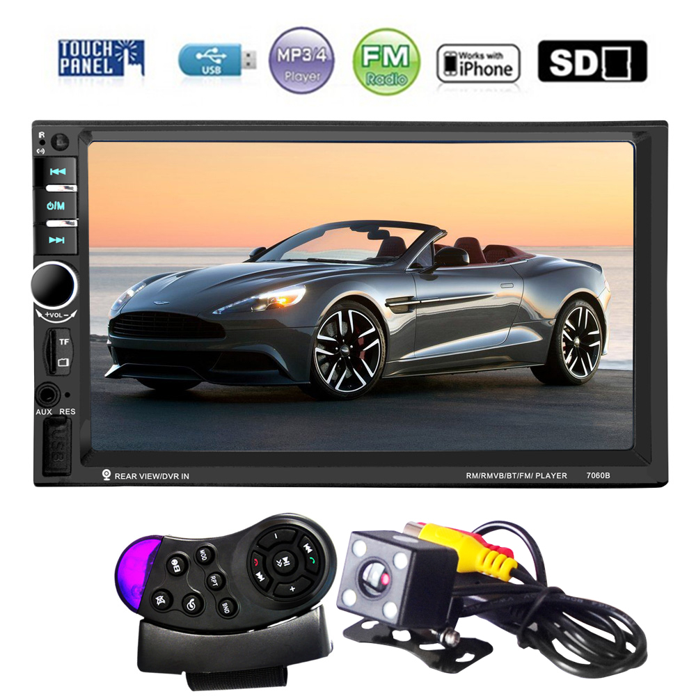 7 Inch HD Touch Screen 2 Din Bluetooth Auto Car Audio Stereo FM MP5 Player Support AUX USB TF Phone + Reverse Rearview Camera 7 inch hd 2 din bluetooth car mp5 player stereo audio fm radio touch screen support aux usb tf phone auto rearview camera