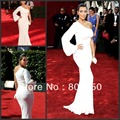 White Celebrity Dress mermaid one shoulder with full sleeve Prom Dress pleat taffeta straps white Celebrity Dresses long Dress