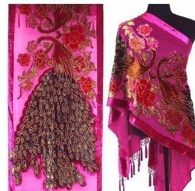 Ярко-Розовый Китайских женщин 100% Шелк Бархат Шали Шарф Вышивка Павлин Бисером Пашмины Хиджаб Долго Бахромой Глушитель TS002