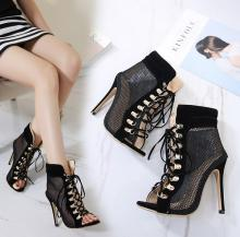 DiJiGirls High quality fashion Spring autumn Women Pumps Gladiator Rome Sandals mesh Cross Strap Peep Toe Ankle Boots Summer Cut