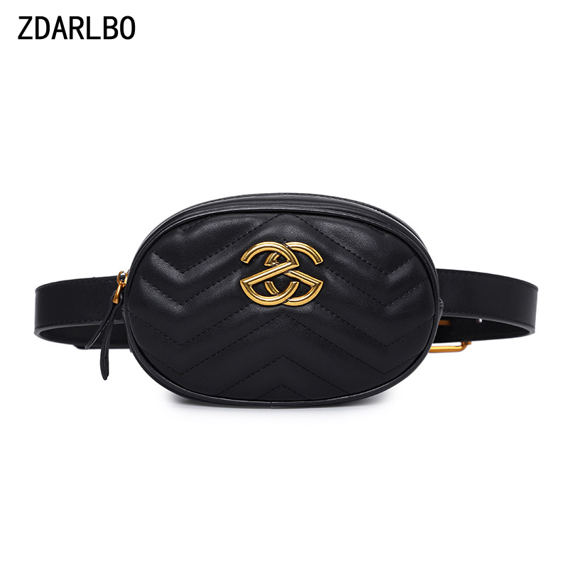 ZDARLBO High Quality PU Shoulder Crossbody Waist Bag Women's Flannel Fanny Pack Handy Belt Bag Oval Female Waist Pack Chest Bags