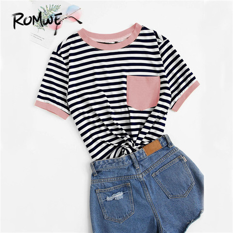 ROMWE Multicolor Contrast Pocket Striped Ringer Women Tees 2019 Summer Preppy Style T Shirts Casual Short Sleeve O-Neck Tops Multan