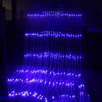 3x3M 320LED Water Flow Snowing Effect Curtain Led Waterfall String Light Christmas Xmas Wedding Party Background