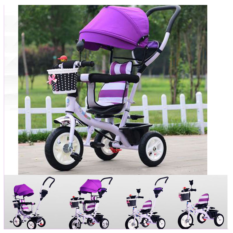 все цены на Rotating Seat Children Tricycle Bike Baby Carriage with 3 Wheels Shopping Basket Baby Car Travel System Bicycle Stroller Trike онлайн