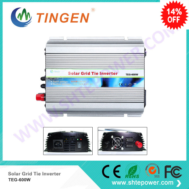 Solar Power Mini 600W inverter DC 10.8-28V input AC 110V 220V output MPPT function Pure sine wave new generation maylar 22 60vdc 300w dc to ac solar grid tie power inverter output 90 260vac 50hz 60hz