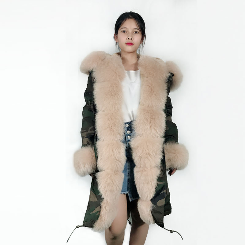 Winter Luxury Apricot Women Coat Camouflage Windproof Long Outerwear Jacket