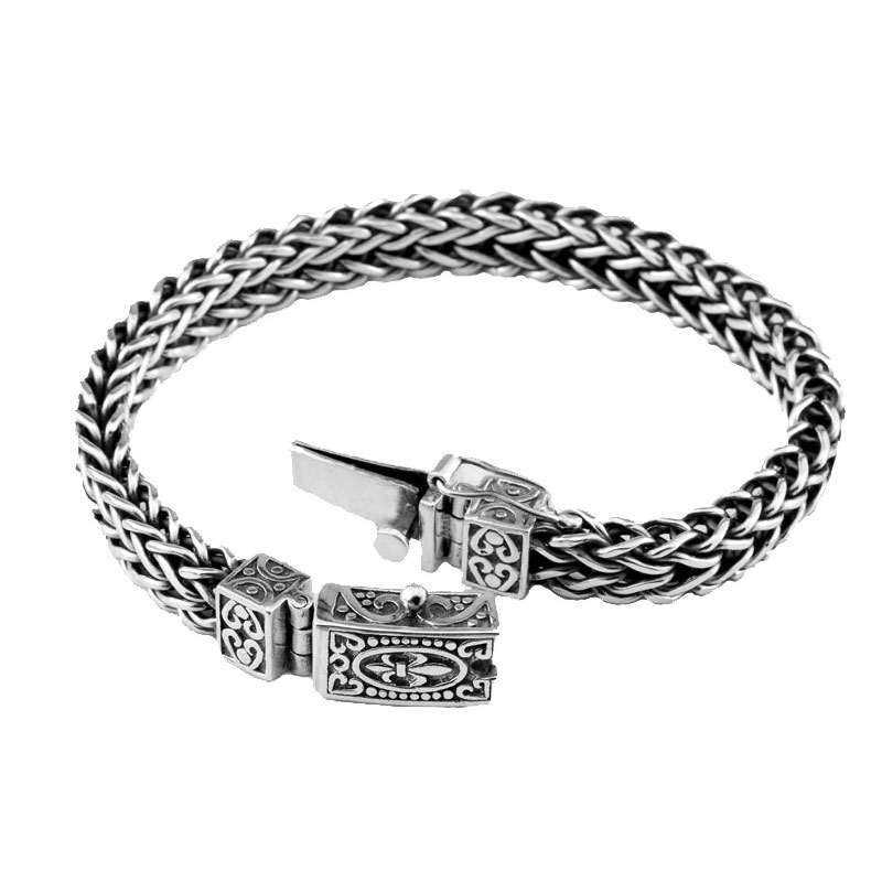 Silver Bracelet Anchor Width mm Classic Wire cable Link Chain S Thai