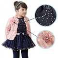 New Fashion 3pcs Baby Girls Top Coat+T-shirt+Skirt Tutu Princess Clothes Set Suit Pink