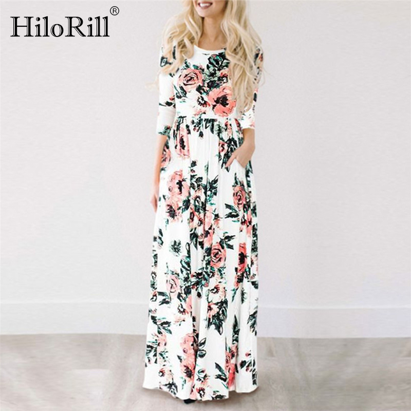 2019 Summer Long Dress Floral Print Boho Beach Dress Tunic Maxi Dress Women Evening Party Dress Sundress Vestidos De Festa XXXL(China)