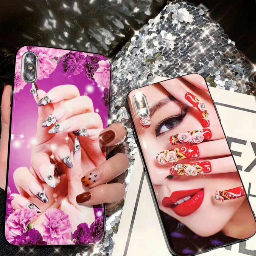 Luxury New Fashion 3d Bling Diamond Beauty Enamel Nail Polish Glossy Back Phone Case Cover For Iphone Xs Max Xr X 8 7 6 6s Plus Phone Case Covers Aliexpress