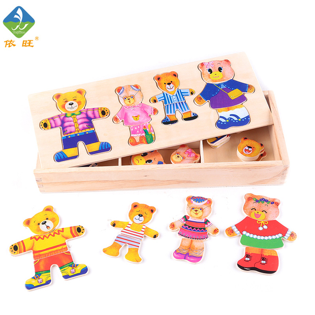 Toy Woo  Colorful Wooden Cartoon Bear Puzzle Imagination and Intelligence Training Toys for 1~5 Years Old Children