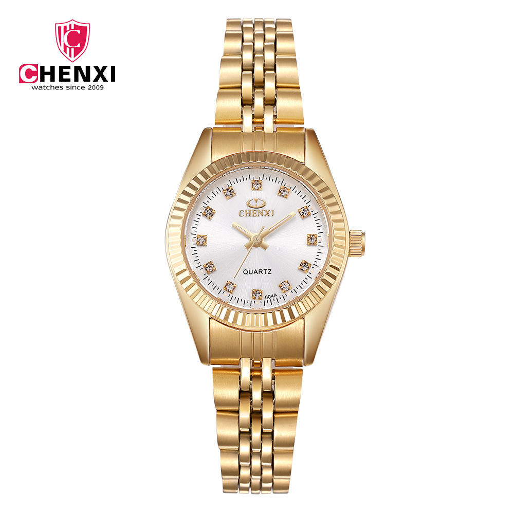 Chenxi Brand Luxury Golden Clock Gold Fashion Men Woman Lovers' Watches Full Stainless Steel Quartz WristWatches Wholesale 004A