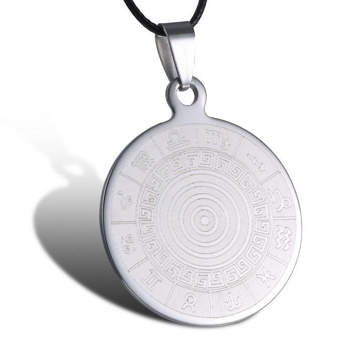 Circle engraving pendants promotion shop for promotional circle trendy circle engraved necklace pattern pendant necklaces stainless steel jewelry 2015 necklaces for men minimalist handmade mozeypictures Image collections