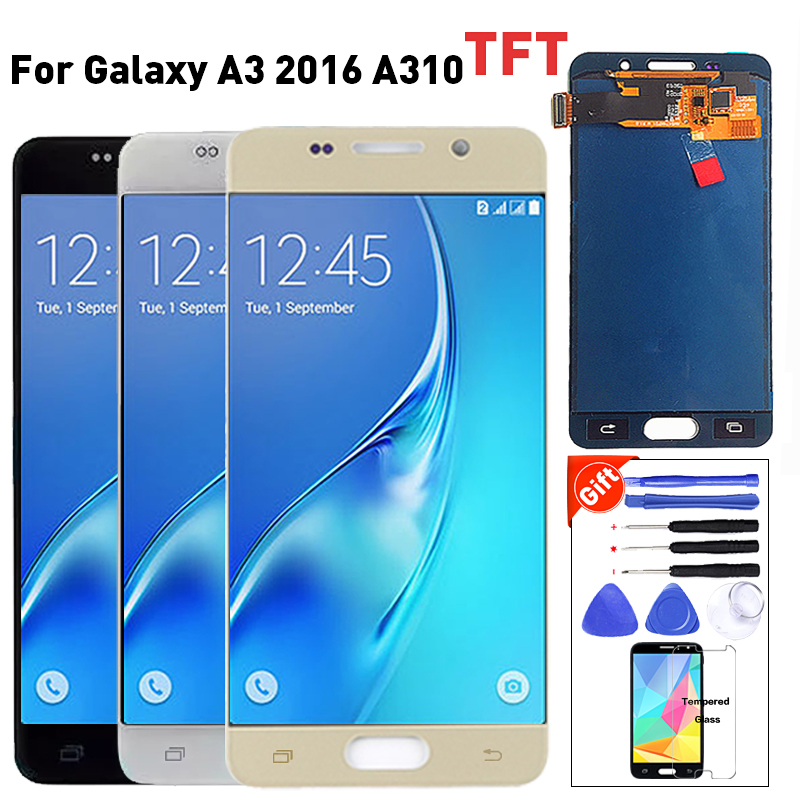 For <font><b>Samsung</b></font> Galaxy A3 2016 A310 <font><b>A310F</b></font> A310H A310M LCD Tested <font><b>Display</b></font> Digitizer Touch <font><b>Screen</b></font> Assembly with Brightness Adjust image