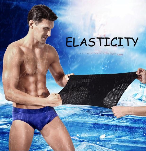 Sexy hommes slips maille respirant hommes sous-vêtements slips bambou fibre poche soie culotte érotique mâle caleçons Slip Homme Push Up