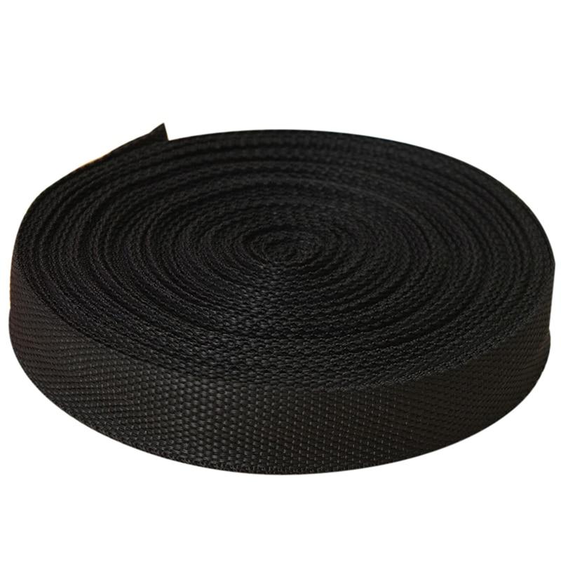 25mmx20m Roll Nylon Tape Strap For Webbing Bag Strapping Belt Making DIY Craft - Black
