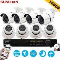 SUNCHAN 8ch 1080 마력 AHD-H DVR 8 개 HD 2.0MP 1080 마력/야외 보안 카메라 DVR 키트 CCTV 홈 감시 시스템 w/HDD