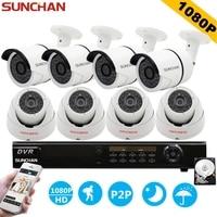 SUNCHAN 8ch 1080P AHD H DVR 8PCS HD 2 0MP 1080P 3000TVL In Outdoor Security Camera