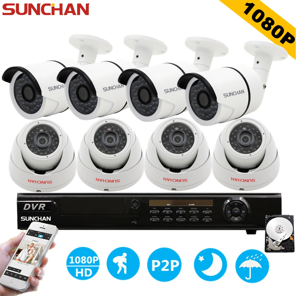 SUNCHAN 8ch 1080P AHD-H DVR 8PCS HD 2.0MP 1080P In/Outdoor Security Camera DVR Kits CCTV Home Surveillance System w/ HDD zosi 1080p 8ch tvi dvr with 8x 1080p hd outdoor home security video surveillance camera system 2tb hard drive white